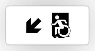 Accessible Means of Egress Icon Exit Sign Wheelchair Wheelie Running Man Symbol by Lee Wilson PWD Disability Emergency Evacuation Sticker 125