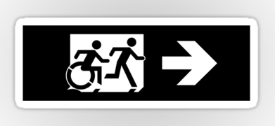 Accessible Means of Egress Icon Exit Sign Wheelchair Wheelie Running Man Symbol by Lee Wilson PWD Disability Emergency Evacuation Sticker 126