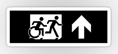 Accessible Means of Egress Icon Exit Sign Wheelchair Wheelie Running Man Symbol by Lee Wilson PWD Disability Emergency Evacuation Sticker 127