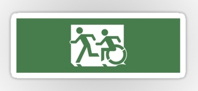 Accessible Means of Egress Icon Exit Sign Wheelchair Wheelie Running Man Symbol by Lee Wilson PWD Disability Emergency Evacuation Sticker 128