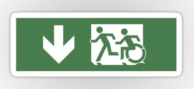 Accessible Means of Egress Icon Exit Sign Wheelchair Wheelie Running Man Symbol by Lee Wilson PWD Disability Emergency Evacuation Sticker 129