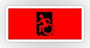 Accessible Means of Egress Icon Exit Sign Wheelchair Wheelie Running Man Symbol by Lee Wilson PWD Disability Emergency Evacuation Sticker 13