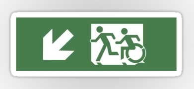 Accessible Means of Egress Icon Exit Sign Wheelchair Wheelie Running Man Symbol by Lee Wilson PWD Disability Emergency Evacuation Sticker 130