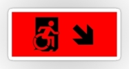 Accessible Means of Egress Icon Exit Sign Wheelchair Wheelie Running Man Symbol by Lee Wilson PWD Disability Emergency Evacuation Sticker 131