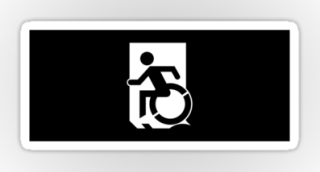 Accessible Means of Egress Icon Exit Sign Wheelchair Wheelie Running Man Symbol by Lee Wilson PWD Disability Emergency Evacuation Sticker 132