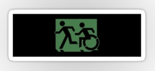 Accessible Means of Egress Icon Exit Sign Wheelchair Wheelie Running Man Symbol by Lee Wilson PWD Disability Emergency Evacuation Sticker 1