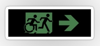 Accessible Means of Egress Icon Exit Sign Wheelchair Wheelie Running Man Symbol by Lee Wilson PWD Disability Emergency Evacuation Sticker 14