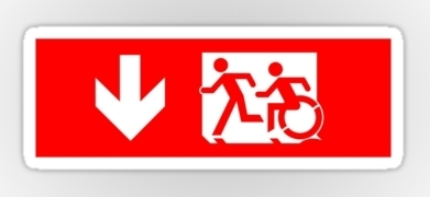 Accessible Means of Egress Icon Exit Sign Wheelchair Wheelie Running Man Symbol by Lee Wilson PWD Disability Emergency Evacuation Sticker 15