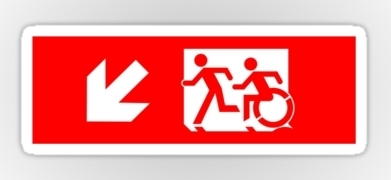 Accessible Means of Egress Icon Exit Sign Wheelchair Wheelie Running Man Symbol by Lee Wilson PWD Disability Emergency Evacuation Sticker 16