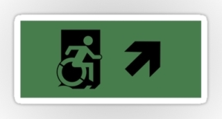 Accessible Means of Egress Icon Exit Sign Wheelchair Wheelie Running Man Symbol by Lee Wilson PWD Disability Emergency Evacuation Sticker 17