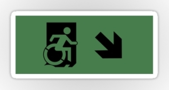 Accessible Means of Egress Icon Exit Sign Wheelchair Wheelie Running Man Symbol by Lee Wilson PWD Disability Emergency Evacuation Sticker 18