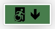 Accessible Means of Egress Icon Exit Sign Wheelchair Wheelie Running Man Symbol by Lee Wilson PWD Disability Emergency Evacuation Sticker 19