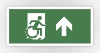 Accessible Means of Egress Icon Exit Sign Wheelchair Wheelie Running Man Symbol by Lee Wilson PWD Disability Emergency Evacuation Sticker 2