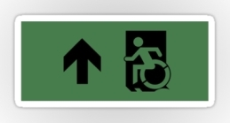 Accessible Means of Egress Icon Exit Sign Wheelchair Wheelie Running Man Symbol by Lee Wilson PWD Disability Emergency Evacuation Sticker 20