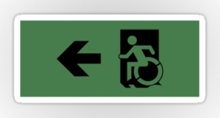 Accessible Means of Egress Icon Exit Sign Wheelchair Wheelie Running Man Symbol by Lee Wilson PWD Disability Emergency Evacuation Sticker 21