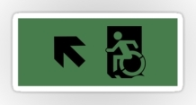 Accessible Means of Egress Icon Exit Sign Wheelchair Wheelie Running Man Symbol by Lee Wilson PWD Disability Emergency Evacuation Sticker 22