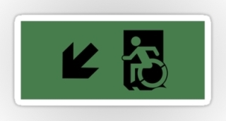 Accessible Means of Egress Icon Exit Sign Wheelchair Wheelie Running Man Symbol by Lee Wilson PWD Disability Emergency Evacuation Sticker 23