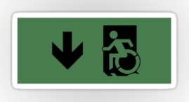 Accessible Means of Egress Icon Exit Sign Wheelchair Wheelie Running Man Symbol by Lee Wilson PWD Disability Emergency Evacuation Sticker 24