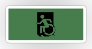 Accessible Means of Egress Icon Exit Sign Wheelchair Wheelie Running Man Symbol by Lee Wilson PWD Disability Emergency Evacuation Sticker 25