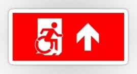 Accessible Means of Egress Icon Exit Sign Wheelchair Wheelie Running Man Symbol by Lee Wilson PWD Disability Emergency Evacuation Sticker 26