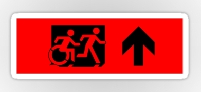 Accessible Means of Egress Icon Exit Sign Wheelchair Wheelie Running Man Symbol by Lee Wilson PWD Disability Emergency Evacuation Sticker 27
