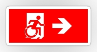 Accessible Means of Egress Icon Exit Sign Wheelchair Wheelie Running Man Symbol by Lee Wilson PWD Disability Emergency Evacuation Sticker 28