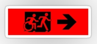 Accessible Means of Egress Icon Exit Sign Wheelchair Wheelie Running Man Symbol by Lee Wilson PWD Disability Emergency Evacuation Sticker 29
