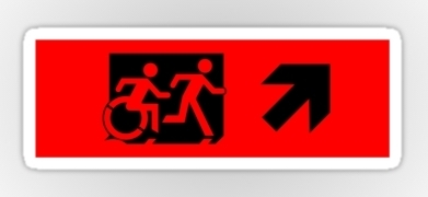 Accessible Means of Egress Icon Exit Sign Wheelchair Wheelie Running Man Symbol by Lee Wilson PWD Disability Emergency Evacuation Sticker 30