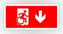 Accessible Means of Egress Icon Exit Sign Wheelchair Wheelie Running Man Symbol by Lee Wilson PWD Disability Emergency Evacuation Sticker 31