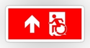 Accessible Means of Egress Icon Exit Sign Wheelchair Wheelie Running Man Symbol by Lee Wilson PWD Disability Emergency Evacuation Sticker 32
