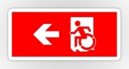 Accessible Means of Egress Icon Exit Sign Wheelchair Wheelie Running Man Symbol by Lee Wilson PWD Disability Emergency Evacuation Sticker 33
