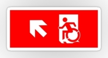 Accessible Means of Egress Icon Exit Sign Wheelchair Wheelie Running Man Symbol by Lee Wilson PWD Disability Emergency Evacuation Sticker 34