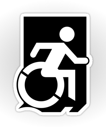 Accessible Means of Egress Icon Exit Sign Wheelchair Wheelie Running Man Symbol by Lee Wilson PWD Disability Emergency Evacuation Sticker 35