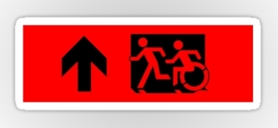 Accessible Means of Egress Icon Exit Sign Wheelchair Wheelie Running Man Symbol by Lee Wilson PWD Disability Emergency Evacuation Sticker 36