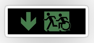 Accessible Means of Egress Icon Exit Sign Wheelchair Wheelie Running Man Symbol by Lee Wilson PWD Disability Emergency Evacuation Sticker 38