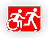Accessible Means of Egress Icon Exit Sign Wheelchair Wheelie Running Man Symbol by Lee Wilson PWD Disability Emergency Evacuation Sticker 39