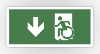 Accessible Means of Egress Icon Exit Sign Wheelchair Wheelie Running Man Symbol by Lee Wilson PWD Disability Emergency Evacuation Sticker 4