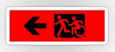 Accessible Means of Egress Icon Exit Sign Wheelchair Wheelie Running Man Symbol by Lee Wilson PWD Disability Emergency Evacuation Sticker 40