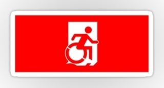 Accessible Means of Egress Icon Exit Sign Wheelchair Wheelie Running Man Symbol by Lee Wilson PWD Disability Emergency Evacuation Sticker 41