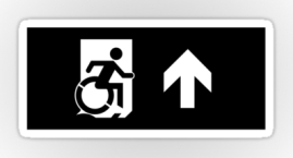 Accessible Means of Egress Icon Exit Sign Wheelchair Wheelie Running Man Symbol by Lee Wilson PWD Disability Emergency Evacuation Sticker 42