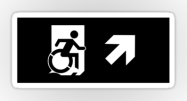 Accessible Means of Egress Icon Exit Sign Wheelchair Wheelie Running Man Symbol by Lee Wilson PWD Disability Emergency Evacuation Sticker 44