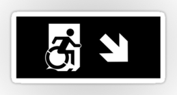 Accessible Means of Egress Icon Exit Sign Wheelchair Wheelie Running Man Symbol by Lee Wilson PWD Disability Emergency Evacuation Sticker 45