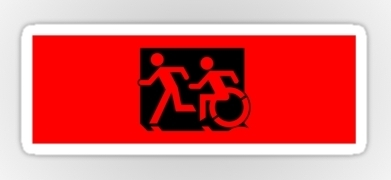 Accessible Means of Egress Icon Exit Sign Wheelchair Wheelie Running Man Symbol by Lee Wilson PWD Disability Emergency Evacuation Sticker 46