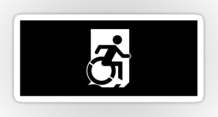 Accessible Means of Egress Icon Exit Sign Wheelchair Wheelie Running Man Symbol by Lee Wilson PWD Disability Emergency Evacuation Sticker 47
