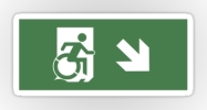Accessible Means of Egress Icon Exit Sign Wheelchair Wheelie Running Man Symbol by Lee Wilson PWD Disability Emergency Evacuation Sticker 48