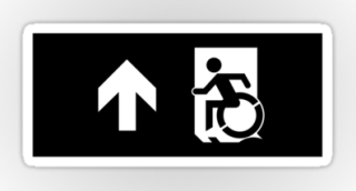 Accessible Means of Egress Icon Exit Sign Wheelchair Wheelie Running Man Symbol by Lee Wilson PWD Disability Emergency Evacuation Sticker 49