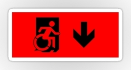 Accessible Means of Egress Icon Exit Sign Wheelchair Wheelie Running Man Symbol by Lee Wilson PWD Disability Emergency Evacuation Sticker 5