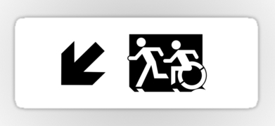 Accessible Means of Egress Icon Exit Sign Wheelchair Wheelie Running Man Symbol by Lee Wilson PWD Disability Emergency Evacuation Sticker 50