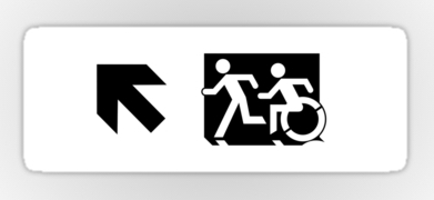 Accessible Means of Egress Icon Exit Sign Wheelchair Wheelie Running Man Symbol by Lee Wilson PWD Disability Emergency Evacuation Sticker 51