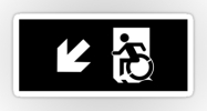 Accessible Means of Egress Icon Exit Sign Wheelchair Wheelie Running Man Symbol by Lee Wilson PWD Disability Emergency Evacuation Sticker 52